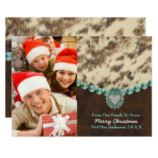 Southwest Leather Country Western Christmas Photo Card