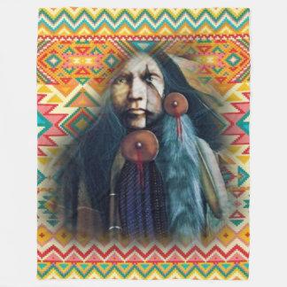 Southwest Native American Brave Fleece Blanket