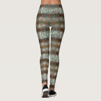 Southwest Ombre Brown and Aqua Stripe Leggings