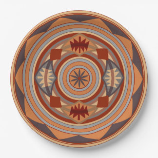 Southwest Pattern Design Tan 9 Inch Paper Plate