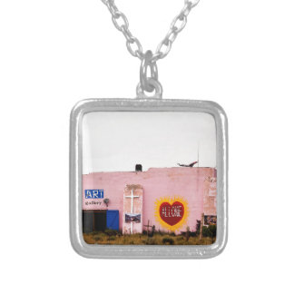 Southwest Pink Art Stucco Building Silver Plated Necklace