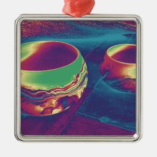 Southwest Pottery Silver-Colored Square Ornament