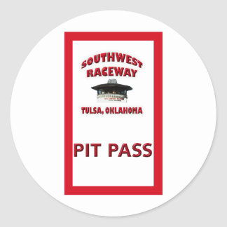 Southwest Raceway Pit Pass Round Sticker