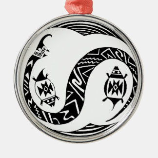 Southwest Serpent Spirit with Turtles Silver-Colored Round Ornament