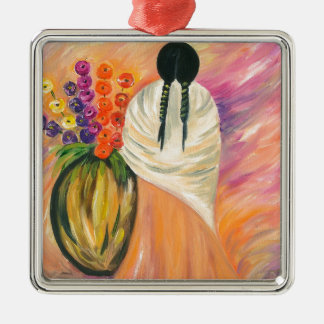 Southwest Silver-Colored Square Ornament