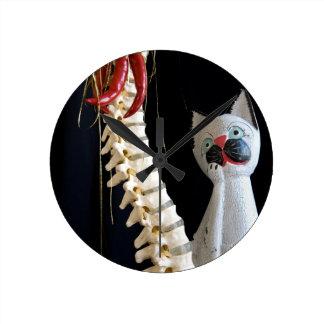Southwest Spine Skeleton Chili Pepper Cat Wallclocks