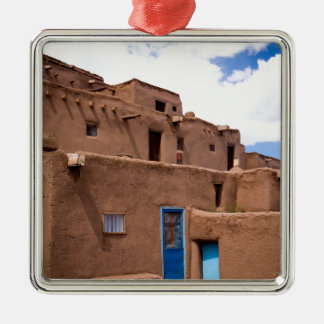 Southwest Taos Adobe Pueblo House New Mexico Metal Ornament