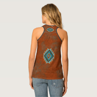 Southwest Teal Diamond Tank Top