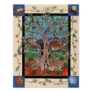 Southwest Tree of Life Wildlife Animals Poster