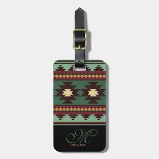 Southwest tribal green brown bag tag