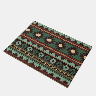 Southwest tribal green brown doormat