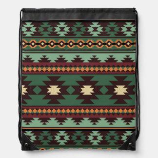 Southwest tribal green brown drawstring bag