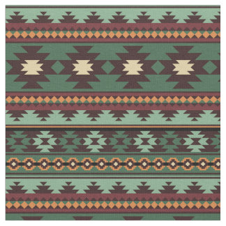 Southwest tribal green brown fabric