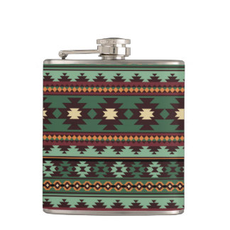 Southwest tribal green brown hip flask
