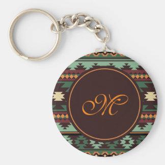 Southwest tribal green brown keychain