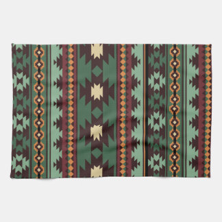 Southwest tribal green brown kitchen towel