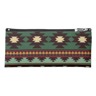Southwest tribal green brown pencil case