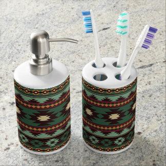 Southwest tribal green brown soap dispenser and toothbrush holder