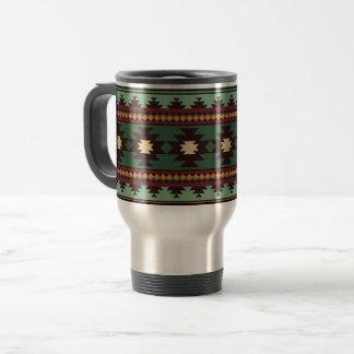 Southwest tribal green brown travel mug