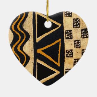 Southwest Tribal Native American Design Ceramic Heart Ornament