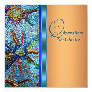 Southwest Turquoise Blue Orange Quinceanera Card