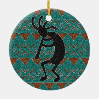 Southwest Turquoise Kokopelli Round Ceramic Ornament