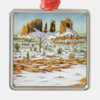 southwest winter Silver-Colored square ornament