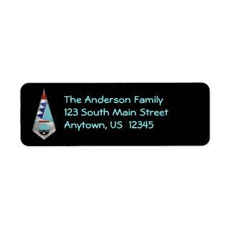 Southwest Zuni Inlay on Black Return Address Label