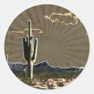 southwestern art Desert  succulent Saguaro Cactus Classic Round Sticker