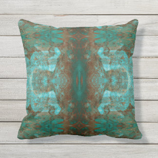 Southwestern Colors Rust Teal Abstract Mirror Outdoor Pillow