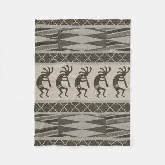 Southwestern Design Kokopelli Tribal Aztec Pattern Fleece Blanket