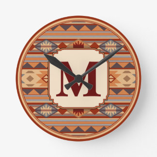 Southwestern Design Tan Monogram Wall Clocks