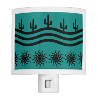 Southwestern Design Teal And Black Night Light