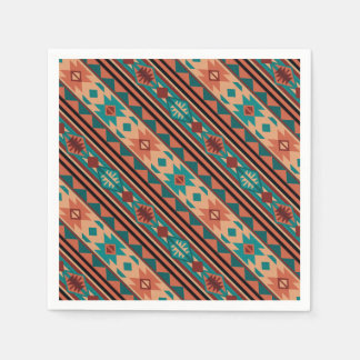 Southwestern Design Turquoise Terracotta Disposable Napkin