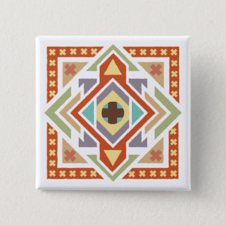 Southwestern Ethnic Tribal Pattern 2 Inch Square Button