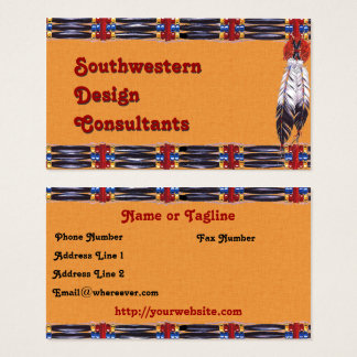 Southwestern Hairpipe and Feathers Business Card