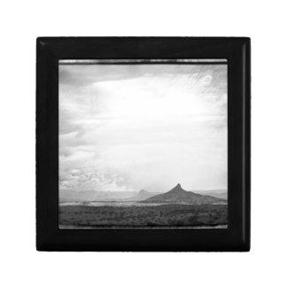 Southwestern Mountain Photograph Black White Jewelry Box