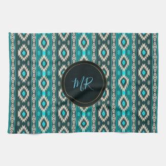 Southwestern navajo ethnic  pattern. Monogram. Kitchen Towel