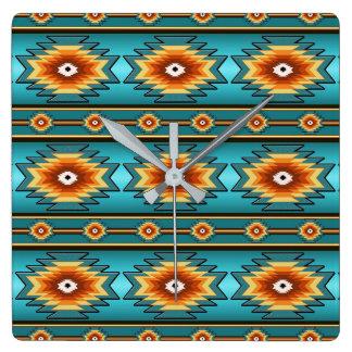 Southwestern navajo geometric  pattern. square wall clock