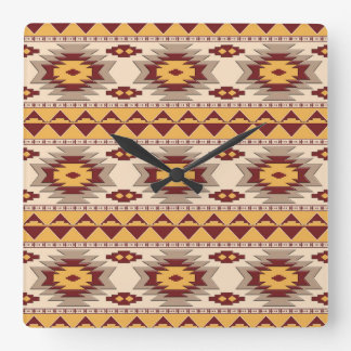 Southwestern navajo tribal pattern square wall clock