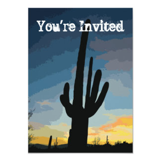 Southwestern Saguaro Cactus Sunset Invitation