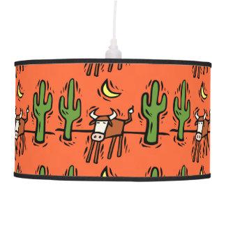 Southwestern steer & Cactus Design Hanging Lamp