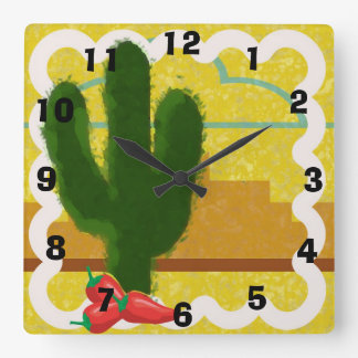 Southwestern Style Desert Scene With Saguaro - Square Wall Clock