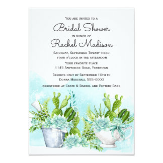 Southwestern Succulents and Flowers Bridal Shower Card