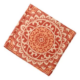 Southwestern Sun Mandala Batik, Coral Orange Bandana