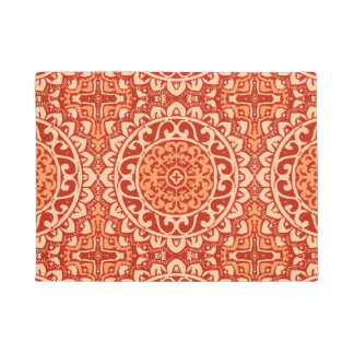 Southwestern Sun Mandala Batik, Coral Orange Doormat