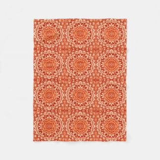 Southwestern Sun Mandala Batik, Coral Orange Fleece Blanket