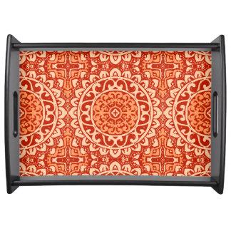 Southwestern Sun Mandala Batik, Coral Orange Serving Tray