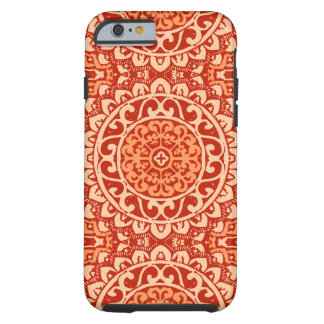 Southwestern Sun Mandala Batik, Coral Orange Tough iPhone 6 Case