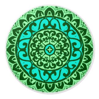 Southwestern Sun Mandala Batik, Lime Green Ceramic Knob